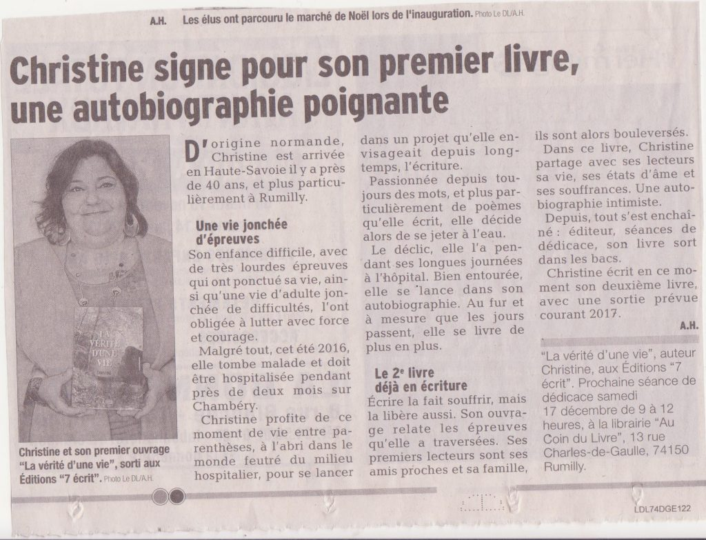 un article de presse logieux dans le journal du dauphin lib r pour l 39 auteur christine. Black Bedroom Furniture Sets. Home Design Ideas
