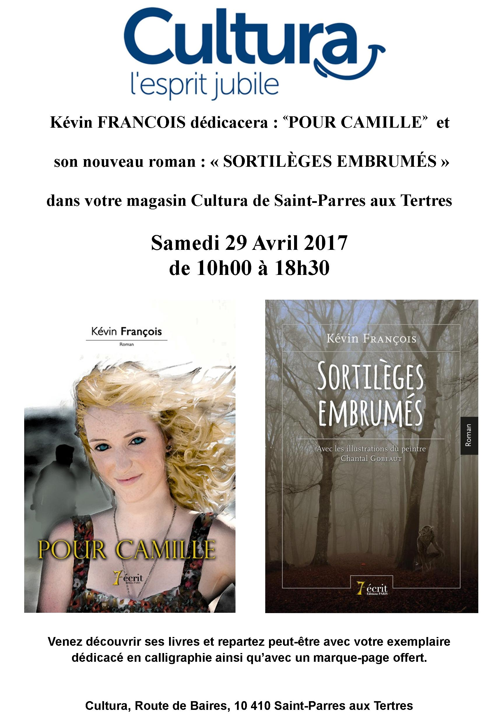 prochainement le 29 avril venez rencontrer k vin fran ois au cultura saint parres aux tertres. Black Bedroom Furniture Sets. Home Design Ideas
